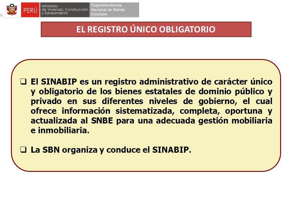 El SINABIP es un registro administrativo de carácter único y obligatorio de los bienes estatales de dominio público y privado en sus diferentes nivele