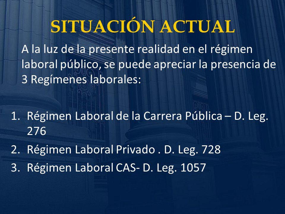 SITUACIÓN ACTUAL A la luz de la presente realidad en el régimen laboral público, se puede apreciar la presencia de 3 Regímenes laborales: 1.Régimen La