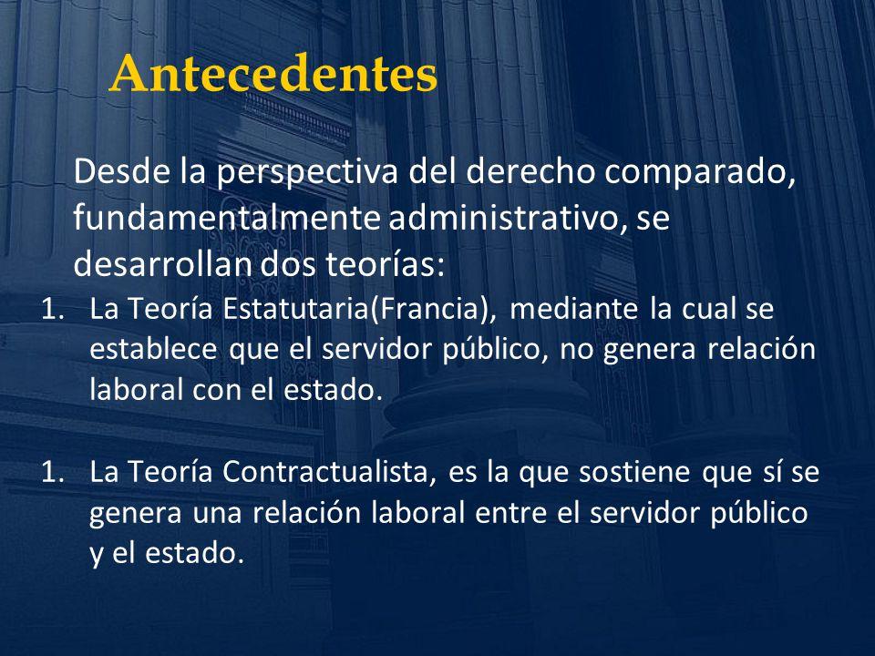 Antecedentes Desde la perspectiva del derecho comparado, fundamentalmente administrativo, se desarrollan dos teorías: 1.La Teoría Estatutaria(Francia)