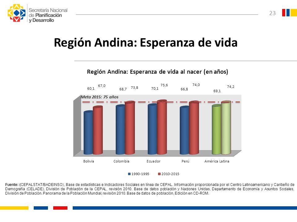 23 Región Andina: Esperanza de vida Fuente: (CEPALSTAT/BADEINSO), Base de estadísticas e Indicadores Sociales en línea de CEPAL. Información proporcio