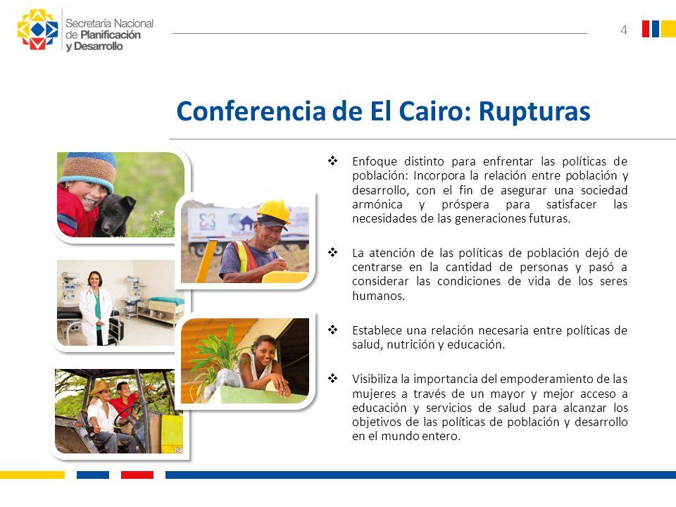 4 Conferencia de El Cairo: Rupturas Enfoque distinto para enfrentar las políticas de población: Incorpora la relación entre población y desarrollo, co