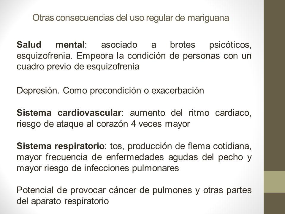 Otras consecuencias del uso regular de mariguana Salud mental: asociado a brotes psicóticos, esquizofrenia. Empeora la condición de personas con un cu