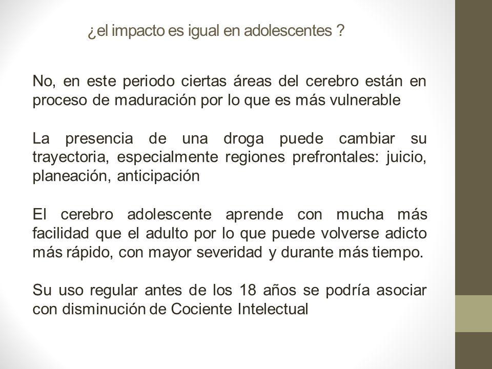 ¿el impacto es igual en adolescentes ? No, en este periodo ciertas áreas del cerebro están en proceso de maduración por lo que es más vulnerable La pr