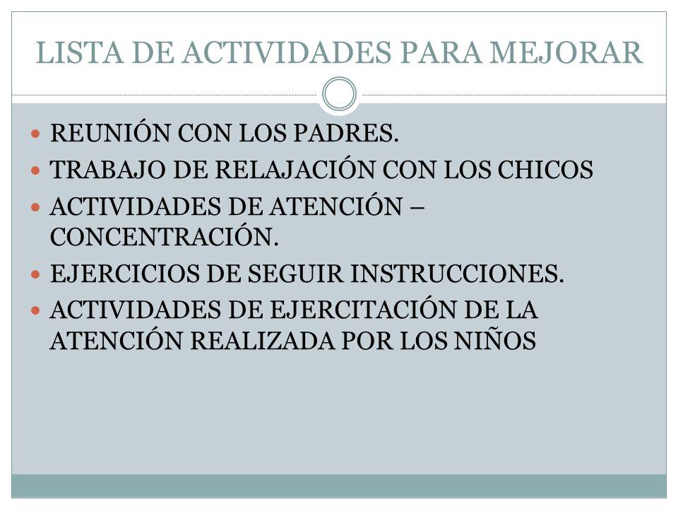 LISTA DE ACTIVIDADES PARA MEJORAR REUNIÓN CON LOS PADRES. TRABAJO DE RELAJACIÓN CON LOS CHICOS ACTIVIDADES DE ATENCIÓN – CONCENTRACIÓN. EJERCICIOS DE