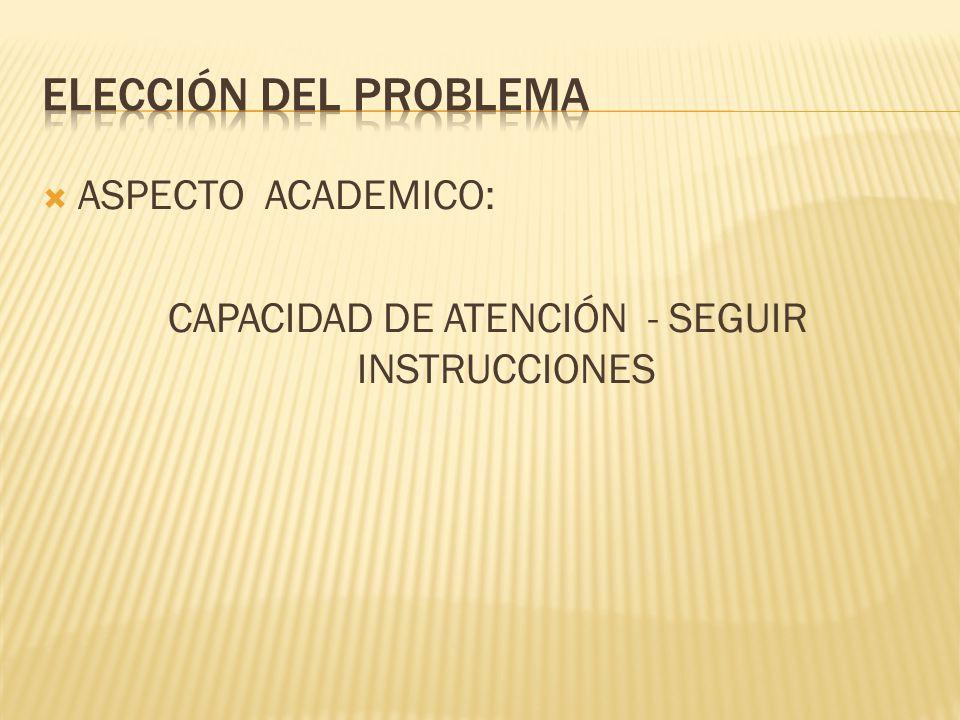 ASPECTO ACADEMICO: CAPACIDAD DE ATENCIÓN - SEGUIR INSTRUCCIONES