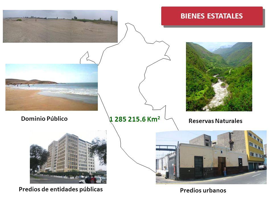 BIENES ESTATALES Terrenos Eriazos Reservas Naturales Predios de entidades públicas Predios urbanos Dominio Público 1 285 215.6 Km 2