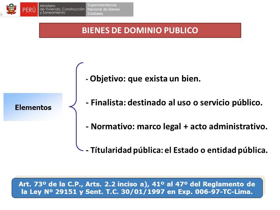 Art. 73º de la C.P., Arts. 2.2 inciso a), 41º al 47º del Reglamento de la Ley Nº 29151 y Sent. T.C. 30/01/1997 en Exp. 006-97-TC-Lima. Elementos - Obj