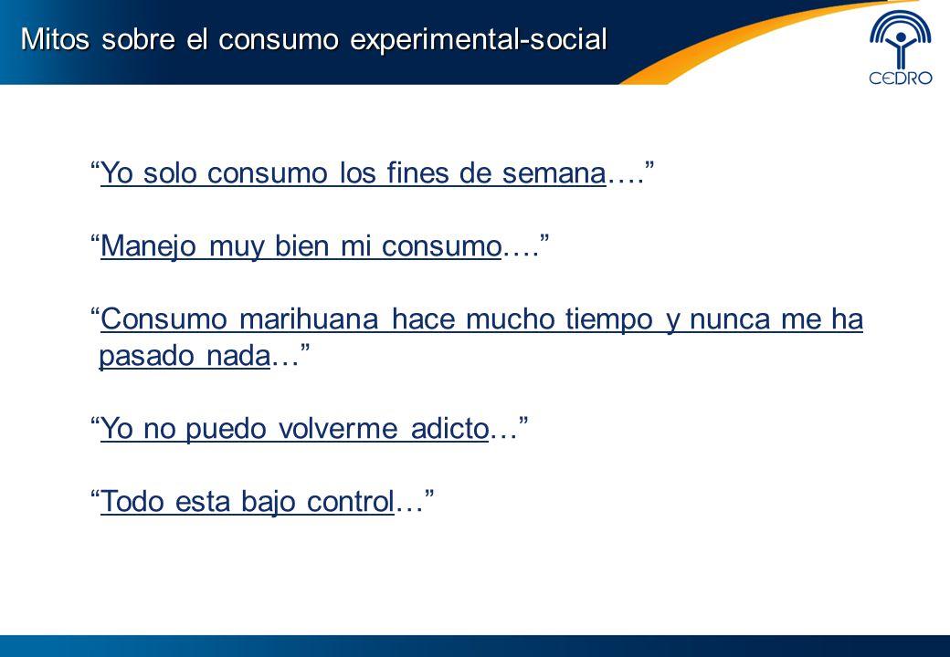 Mitos sobre el consumo experimental-social Yo solo consumo los fines de semana…. Manejo muy bien mi consumo…. Consumo marihuana hace mucho tiempo y nu