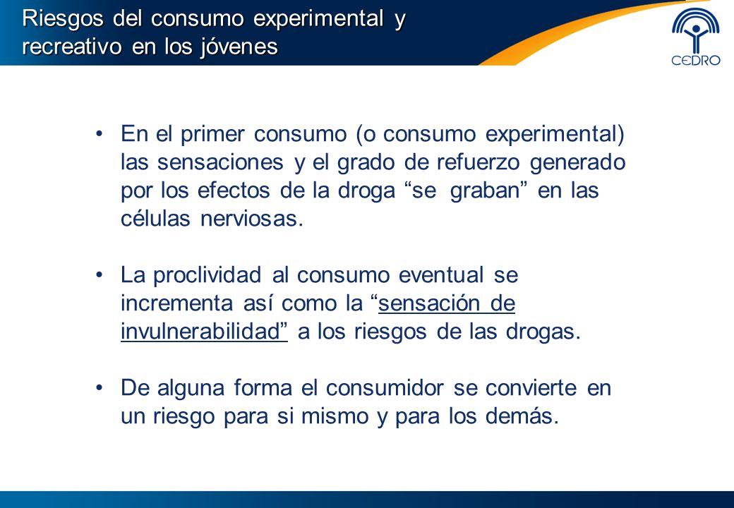 En el primer consumo (o consumo experimental) las sensaciones y el grado de refuerzo generado por los efectos de la droga se graban en las células ner