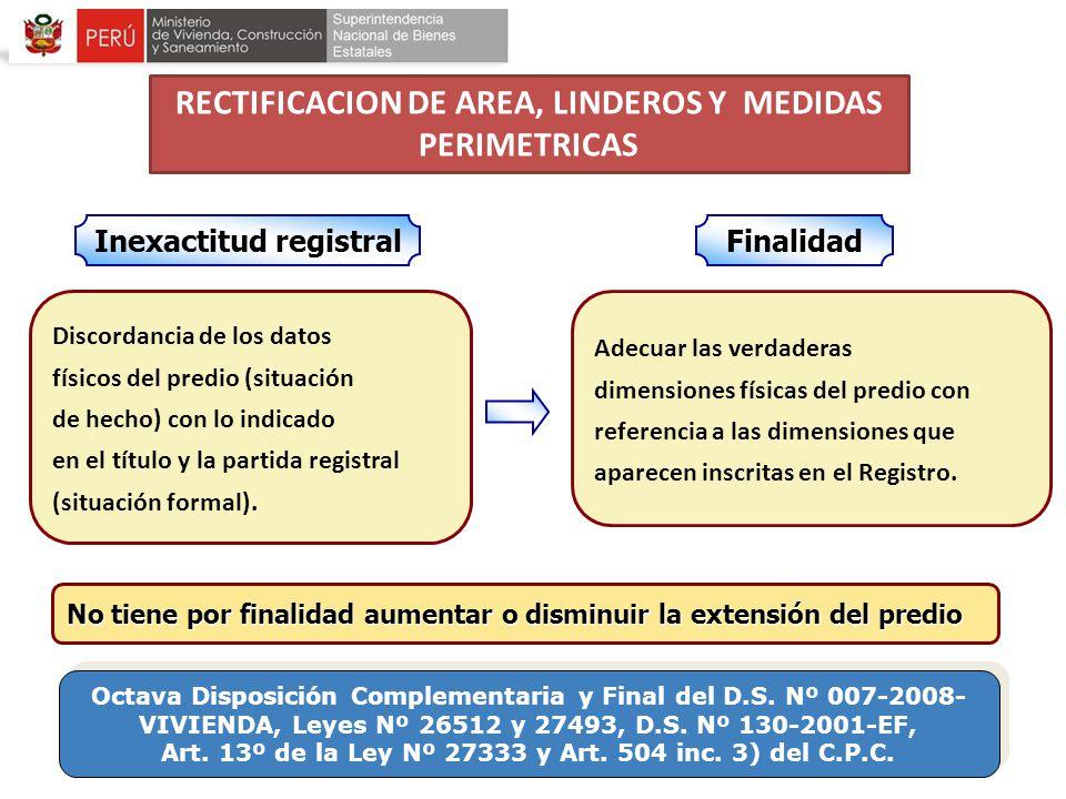 Discordancia de los datos físicos del predio (situación de hecho) con lo indicado en el título y la partida registral (situación formal). Adecuar las