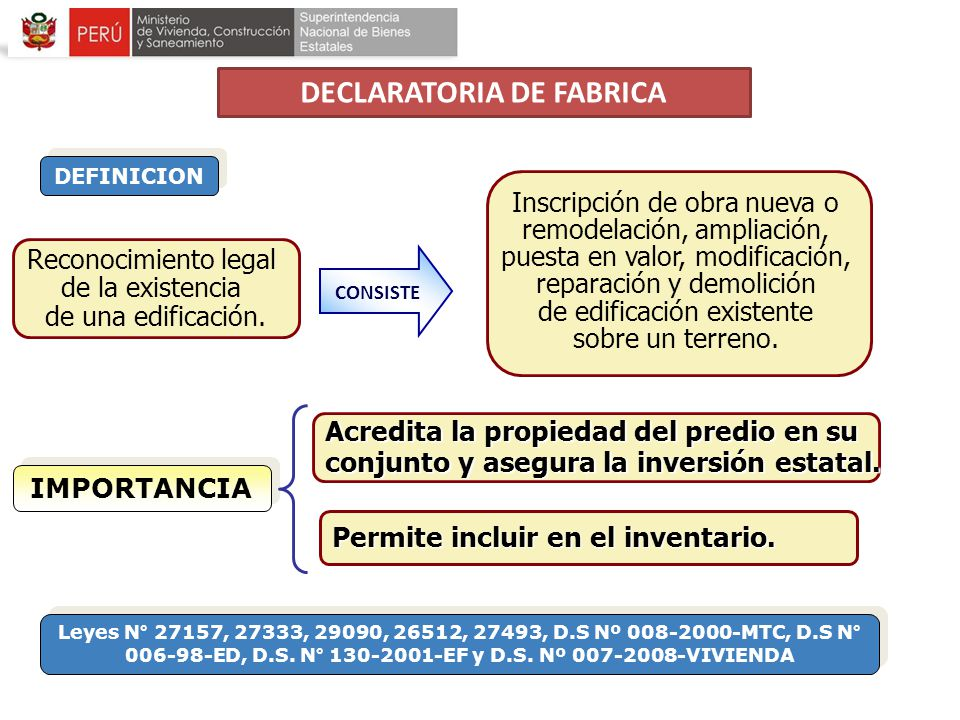 Reconocimiento legal de la existencia de una edificación. CONSISTE DEFINICION Inscripción de obra nueva o remodelación, ampliación, puesta en valor, m