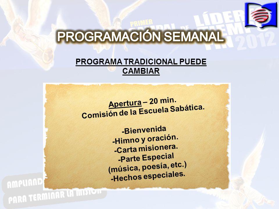 PROGRAMA TRADICIONAL PUEDE CAMBIAR Apertura – 20 min.