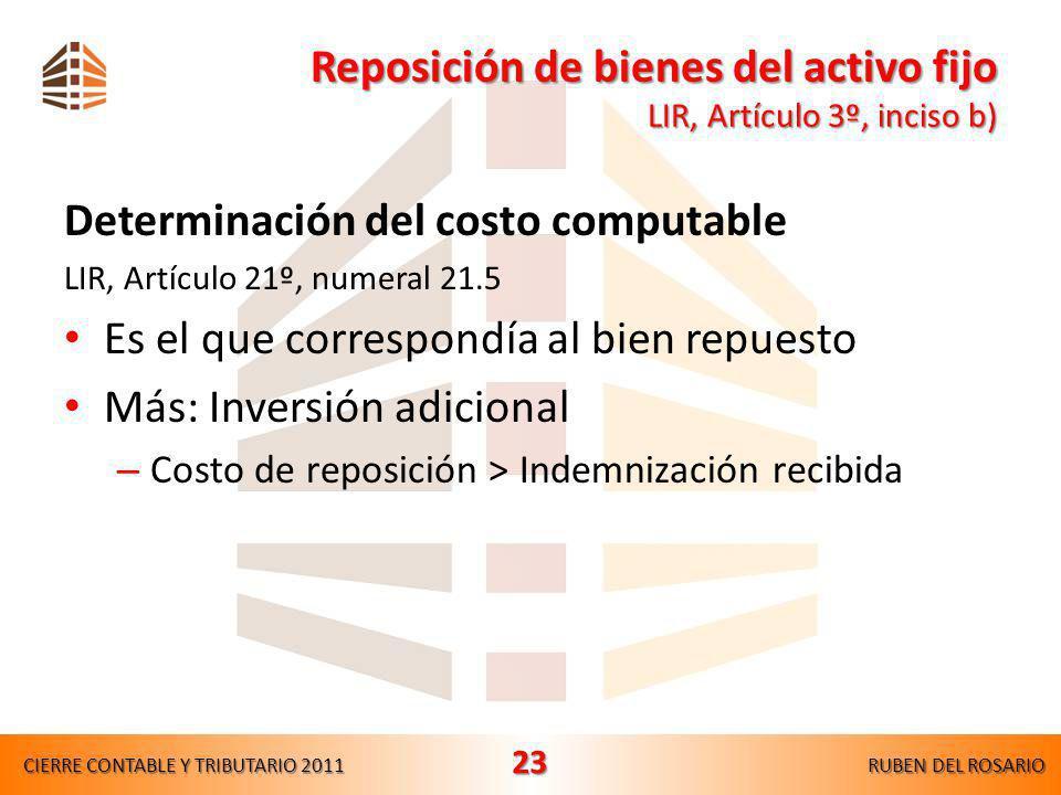 Bienes depreciables o amortizables Bienes depreciables o amortizables LIR, Artículo 20º,tercer párrafo Costo computable Disminuido en: – Depreciacione