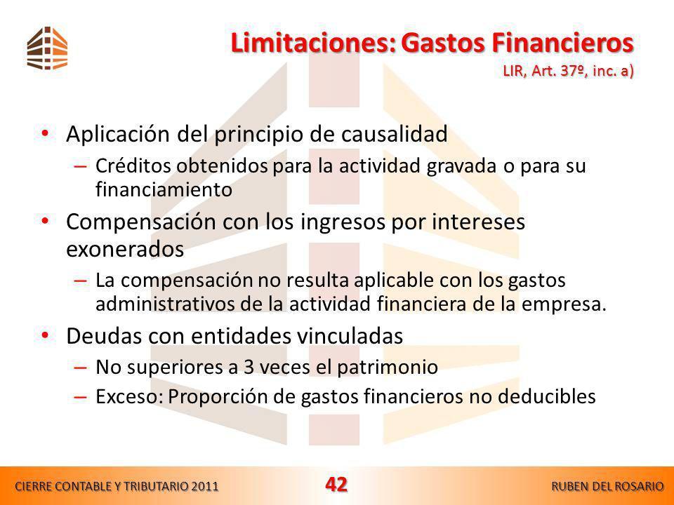 Limitaciones legales y reglamentarias Gastos financieros – Compensación – Deudas con empresas vinculadas LIR, Art.37°, inc.a) – Rgto., Art.21°, inc.a)