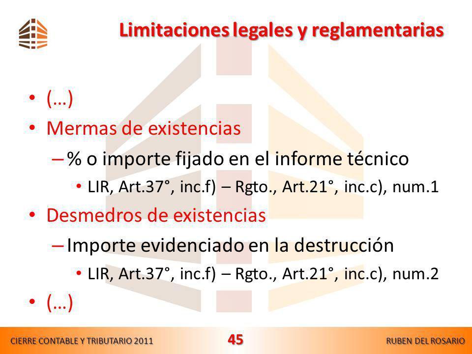 Limitaciones legales y reglamentarias (…) Depreciaciones – Edificios y construcciones 3%(Tasa fija) – Otros bienes del activo fijo (Porcentajes máximo