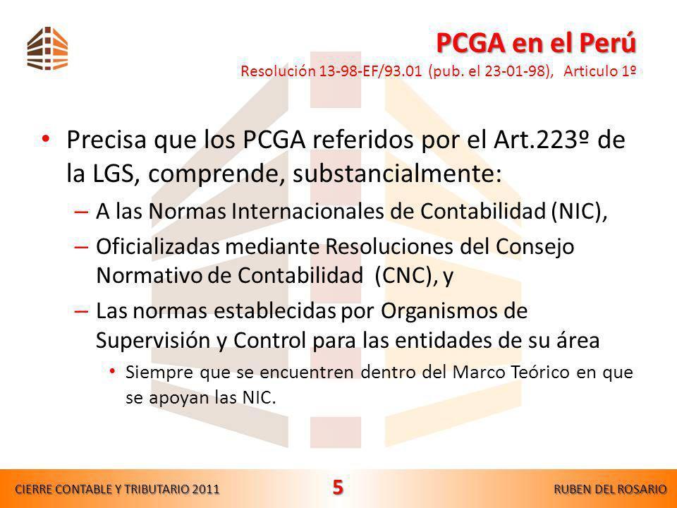 PCGA en el Perú PCGA en el Perú Resolución 13-98-EF/93.01 (pub.