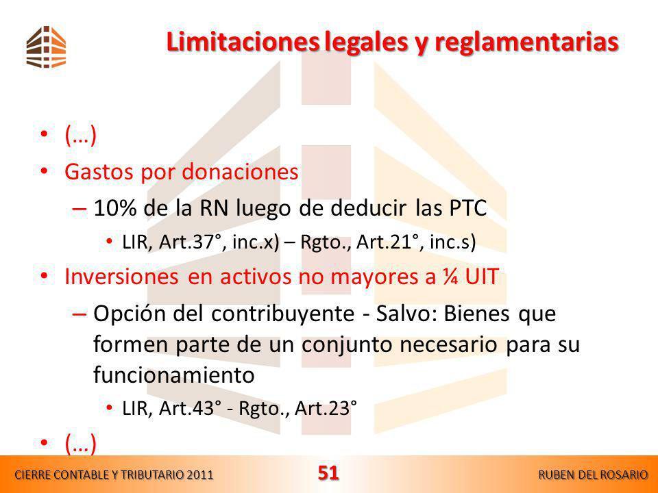 Limitaciones legales y reglamentarias (…) Gastos de representación – 0.5% de los IB (Máximo: 40 UIT) LIR, Art.37°, inc.q) – Rgto., Art.21°, inc.m) Gas