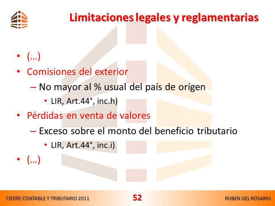 Limitaciones legales y reglamentarias (…) Gastos por donaciones – 10% de la RN luego de deducir las PTC LIR, Art.37°, inc.x) – Rgto., Art.21°, inc.s)