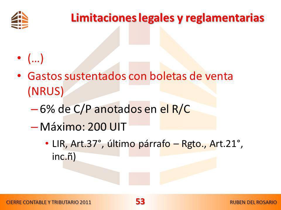 Limitaciones legales y reglamentarias (…) Comisiones del exterior – No mayor al % usual del país de orígen LIR, Art.44°, inc.h) Pérdidas en venta de v