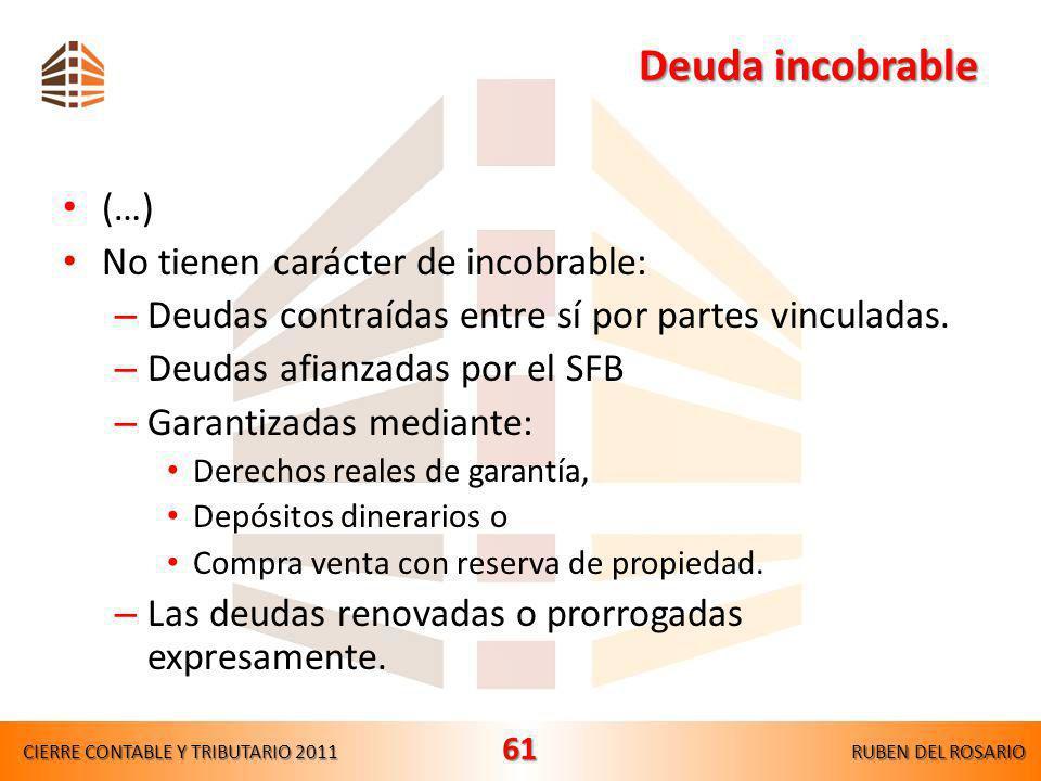 Provisiones y Castigos de Incobrables Provisiones y Castigos de Incobrables Aspectos normativos LIR, Artículo 37°, inciso i) SON DEDUCIBLES –Castigos