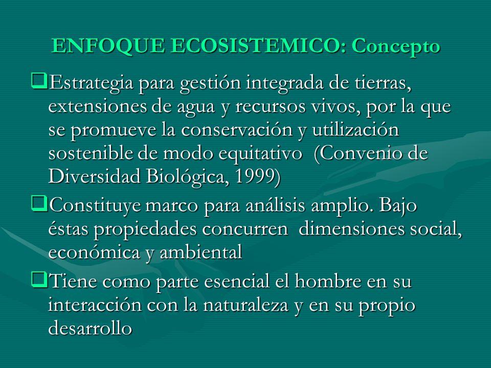 ENFOQUE ECOSISTEMICO: Concepto Estrategia para gestión integrada de tierras, extensiones de agua y recursos vivos, por la que se promueve la conservac