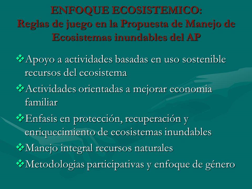 ENFOQUE ECOSISTEMICO: Reglas de juego en la Propuesta de Manejo de Ecosistemas inundables del AP Apoyo a actividades basadas en uso sostenible recurso