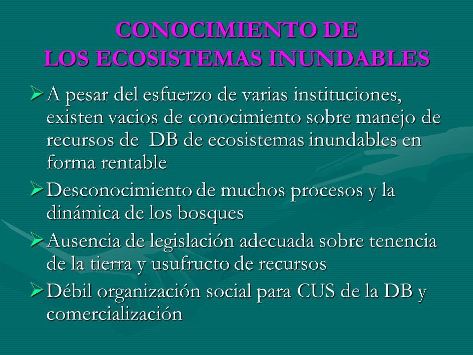 CONOCIMIENTO DE LOS ECOSISTEMAS INUNDABLES A pesar del esfuerzo de varias instituciones, existen vacios de conocimiento sobre manejo de recursos de DB