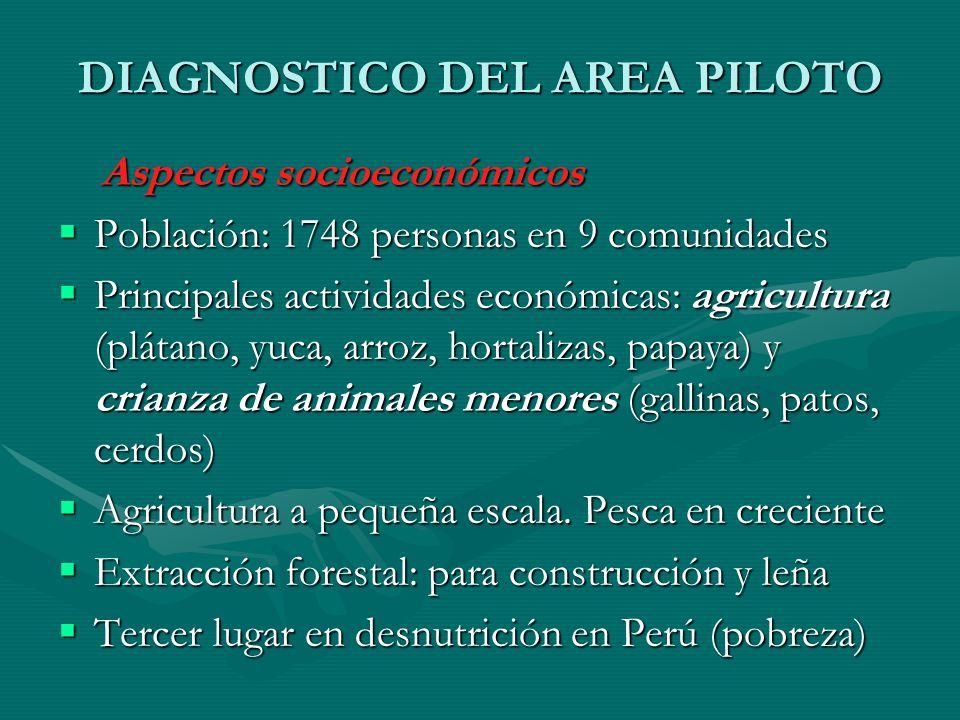 DIAGNOSTICO DEL AREA PILOTO Aspectos socioeconómicos Aspectos socioeconómicos Población: 1748 personas en 9 comunidades Población: 1748 personas en 9