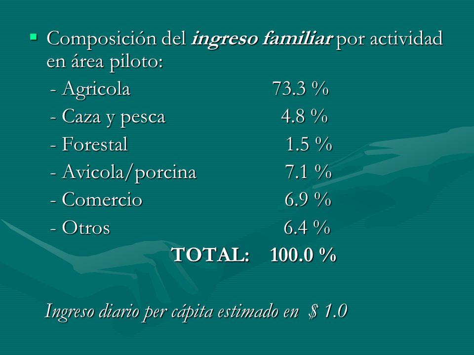 Composición del ingreso familiar por actividad en área piloto: Composición del ingreso familiar por actividad en área piloto: - Agricola 73.3 % - Agri