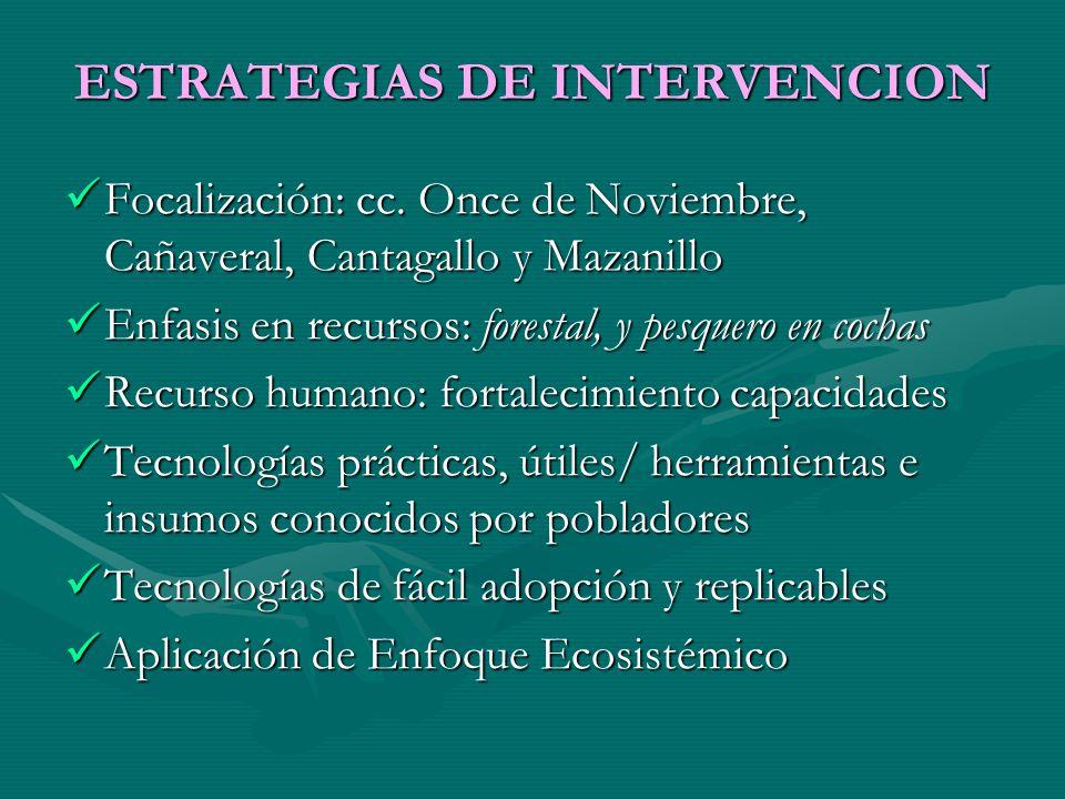 ESTRATEGIAS DE INTERVENCION Focalización: cc. Once de Noviembre, Cañaveral, Cantagallo y Mazanillo Focalización: cc. Once de Noviembre, Cañaveral, Can