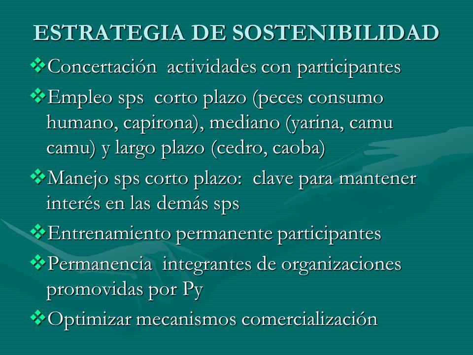 ESTRATEGIA DE SOSTENIBILIDAD Concertación actividades con participantes Concertación actividades con participantes Empleo sps corto plazo (peces consu
