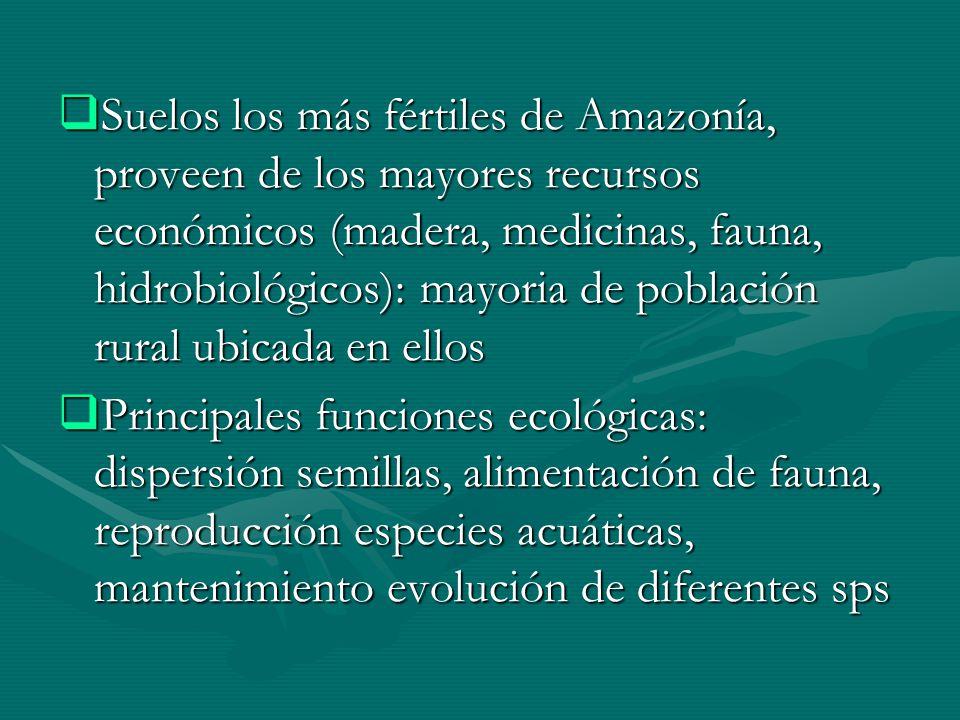 Suelos los más fértiles de Amazonía, proveen de los mayores recursos económicos (madera, medicinas, fauna, hidrobiológicos): mayoria de población rura