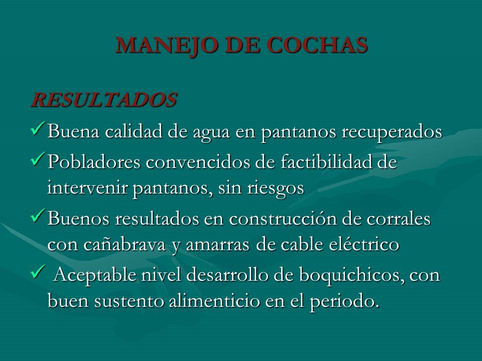 MANEJO DE COCHAS RESULTADOS Buena calidad de agua en pantanos recuperados Buena calidad de agua en pantanos recuperados Pobladores convencidos de fact