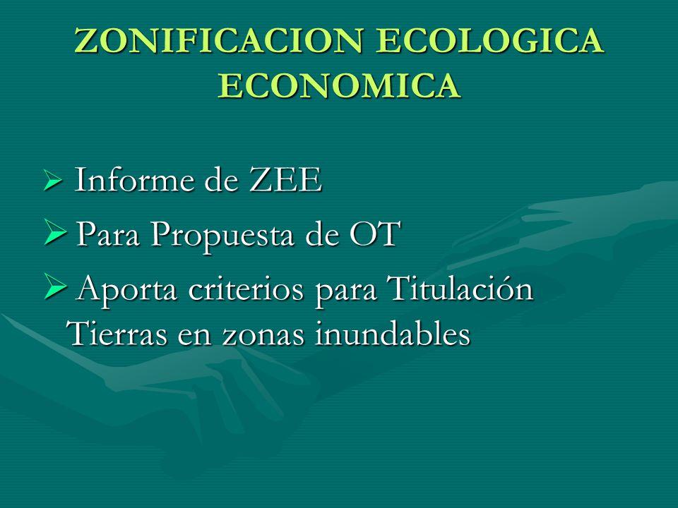 ZONIFICACION ECOLOGICA ECONOMICA Informe de ZEE Informe de ZEE Para Propuesta de OT Para Propuesta de OT Aporta criterios para Titulación Tierras en z