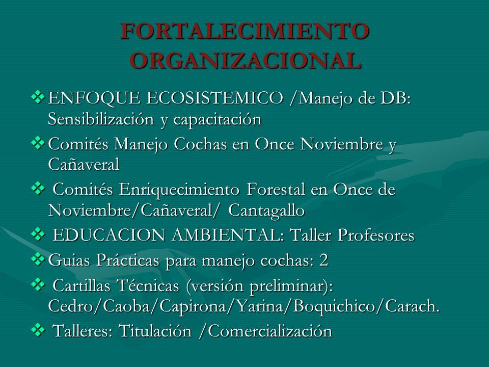 FORTALECIMIENTO ORGANIZACIONAL ENFOQUE ECOSISTEMICO /Manejo de DB: Sensibilización y capacitación ENFOQUE ECOSISTEMICO /Manejo de DB: Sensibilización
