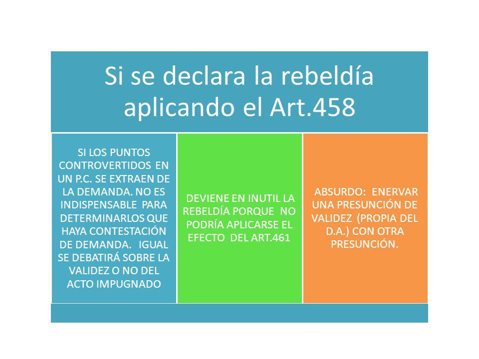 Si se declara la rebeldía aplicando el Art.458 SI LOS PUNTOS CONTROVERTIDOS EN UN P.C.