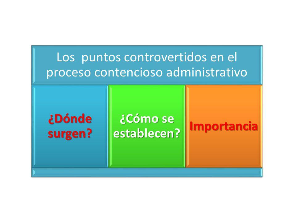 Los puntos controvertidos en el proceso contencioso administrativo ¿Dónde surgen.