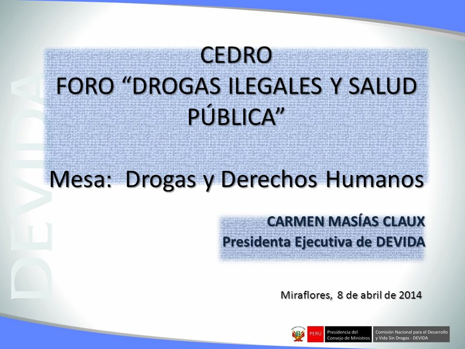 CARMEN MASÍAS CLAUX Presidenta Ejecutiva de DEVIDA Miraflores, 8 de abril de 2014