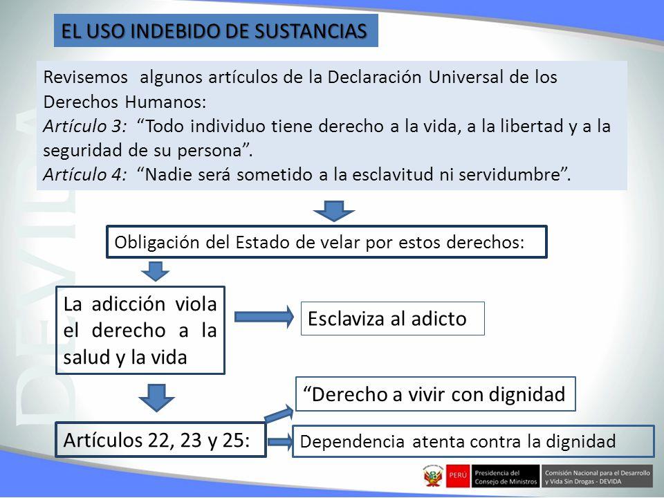 EL USO INDEBIDO DE SUSTANCIAS Revisemos algunos artículos de la Declaración Universal de los Derechos Humanos: Artículo 3: Todo individuo tiene derecho a la vida, a la libertad y a la seguridad de su persona.