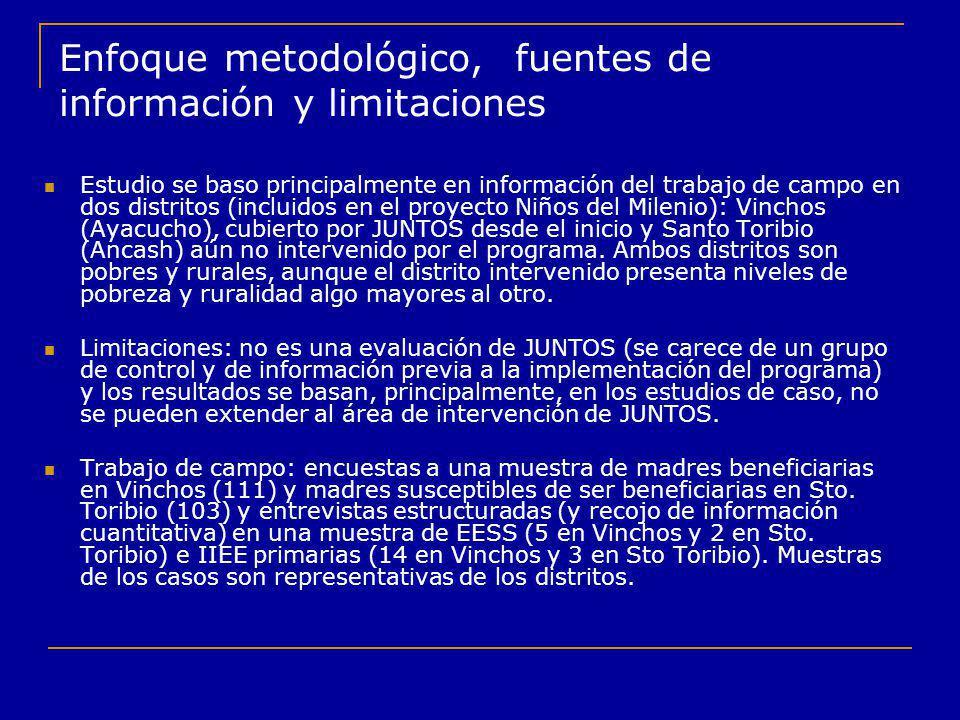 Enfoque metodológico, fuentes de información y limitaciones Estudio se baso principalmente en información del trabajo de campo en dos distritos (inclu
