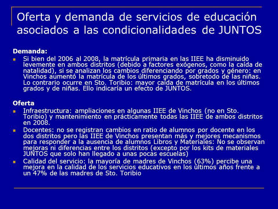 Oferta y demanda de servicios de educación asociados a las condicionalidades de JUNTOS Demanda: Si bien del 2006 al 2008, la matrícula primaria en las