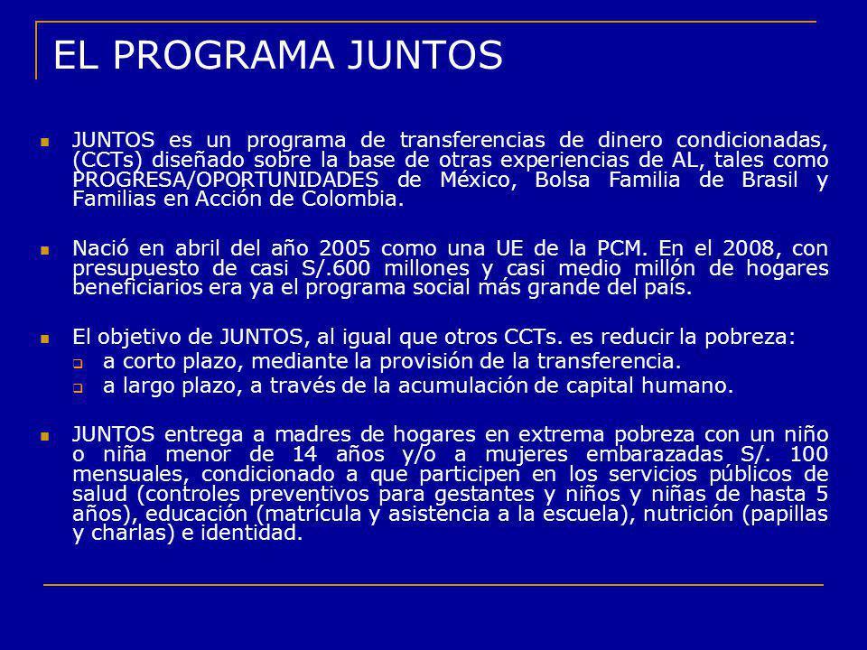EL PROGRAMA JUNTOS JUNTOS es un programa de transferencias de dinero condicionadas, (CCTs) diseñado sobre la base de otras experiencias de AL, tales c