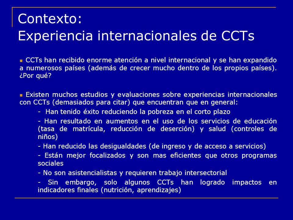 Contexto: Experiencia internacionales de CCTs CCTs han recibido enorme atención a nivel internacional y se han expandido a numerosos países (además de