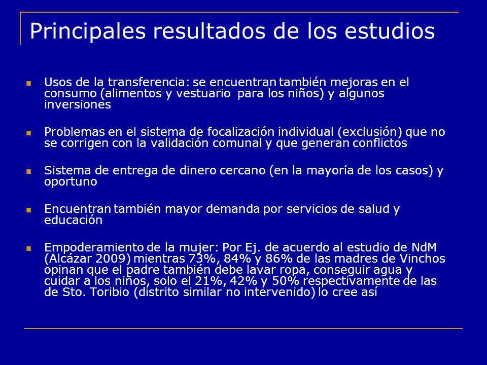 Principales resultados de los estudios Usos de la transferencia: se encuentran también mejoras en el consumo (alimentos y vestuario para los niños) y