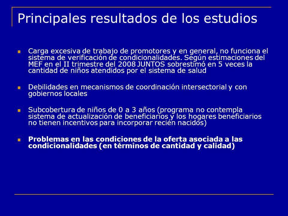Principales resultados de los estudios Carga excesiva de trabajo de promotores y en general, no funciona el sistema de verificación de condicionalidad