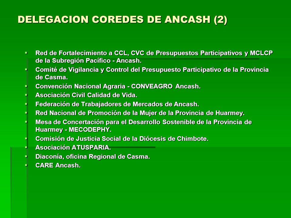 DELEGACION COREDES DE ANCASH (2) Red de Fortalecimiento a CCL, CVC de Presupuestos Participativos y MCLCP de la Subregión Pacífico - Ancash.