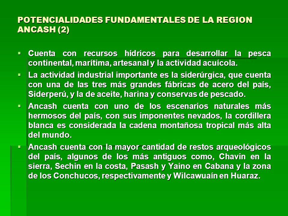 POTENCIALIDADES FUNDAMENTALES DE LA REGION ANCASH (2) Cuenta con recursos hídricos para desarrollar la pesca continental, marítima, artesanal y la actividad acuícola.