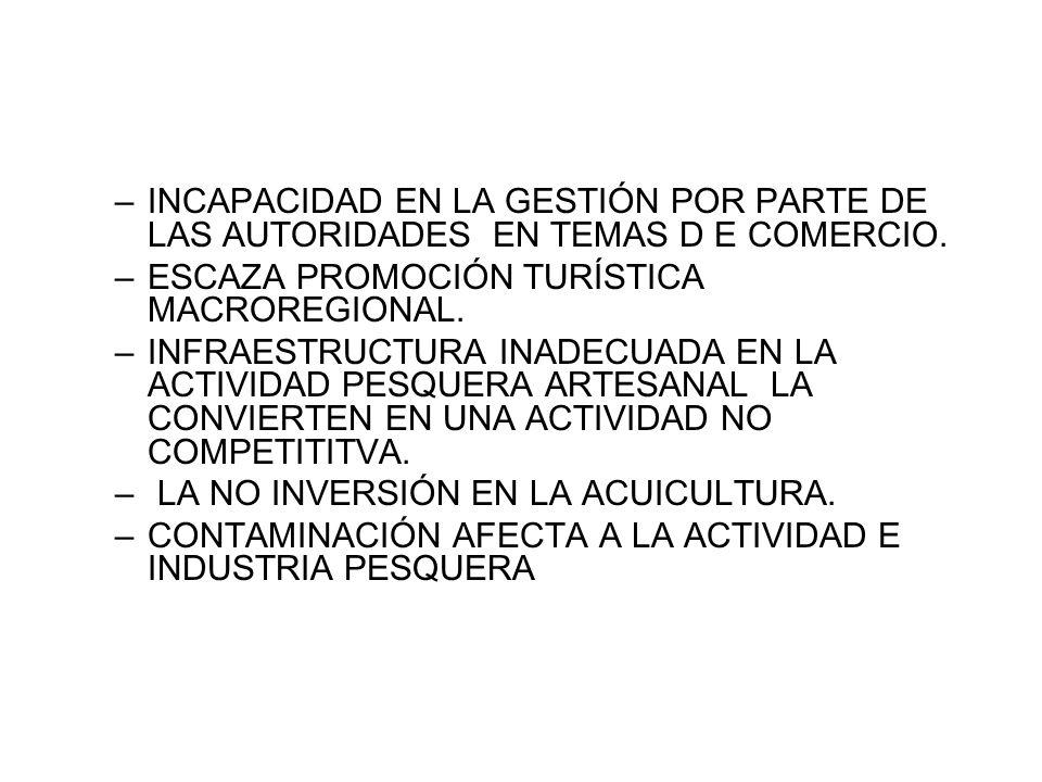 –INCAPACIDAD EN LA GESTIÓN POR PARTE DE LAS AUTORIDADES EN TEMAS D E COMERCIO.