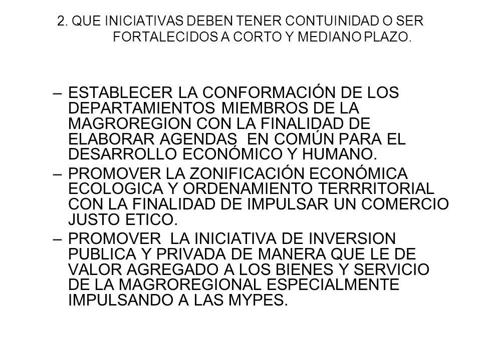 2. QUE INICIATIVAS DEBEN TENER CONTUINIDAD O SER FORTALECIDOS A CORTO Y MEDIANO PLAZO.
