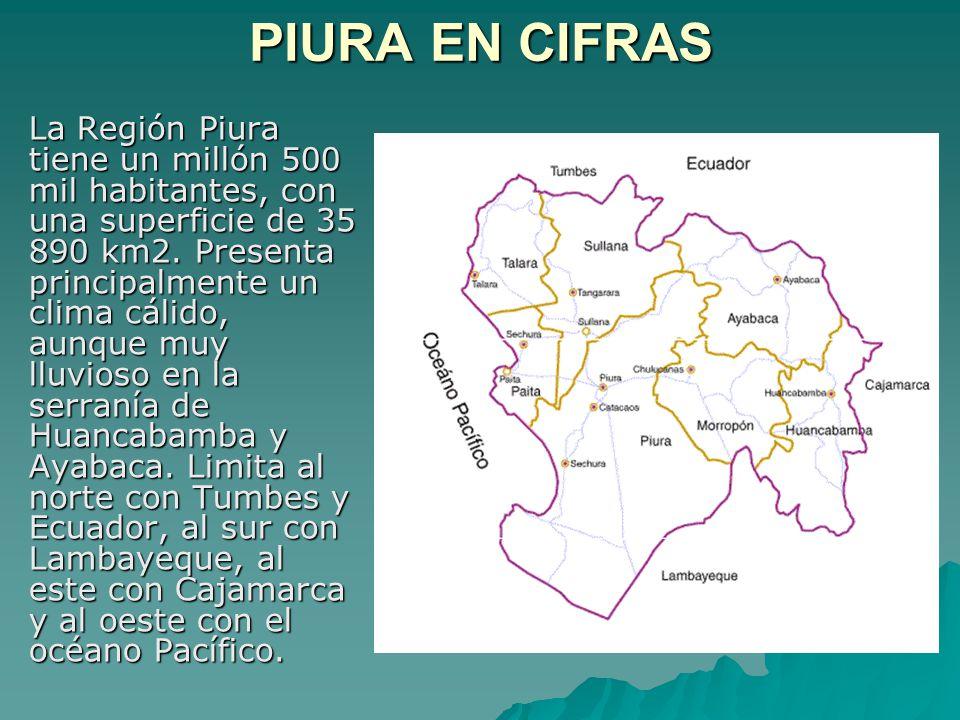 PIURA EN CIFRAS La Región Piura tiene un millón 500 mil habitantes, con una superficie de 35 890 km2. Presenta principalmente un clima cálido, aunque